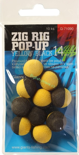 Pěnové plovoucí boilie Zig Rig Pop-Up - 14mm - Yelow-Black