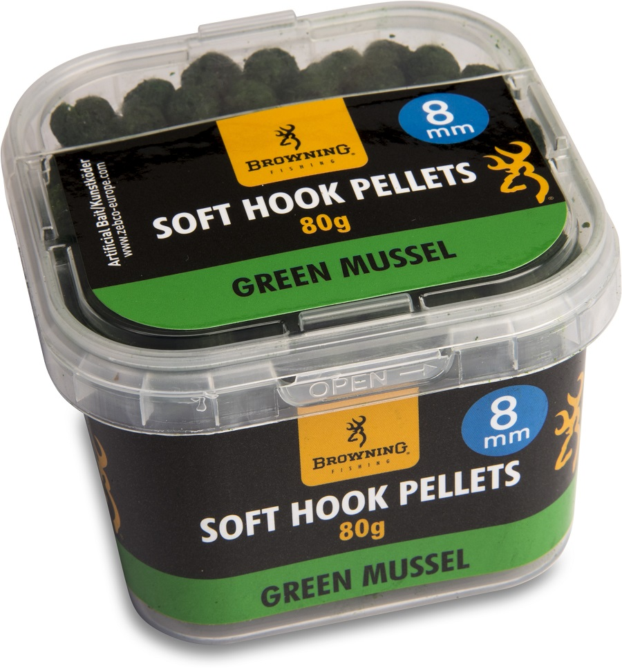 Pelety Browning Soft Hook Pellets 8mm/80g - Green Mussel